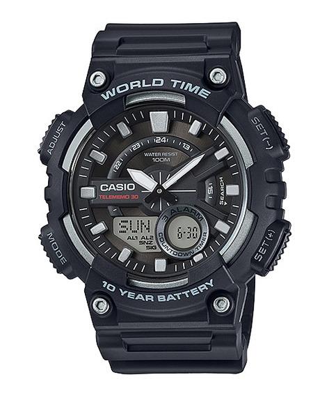 Relógio Masculino Casio Borracha Aeq-110w/1vdr