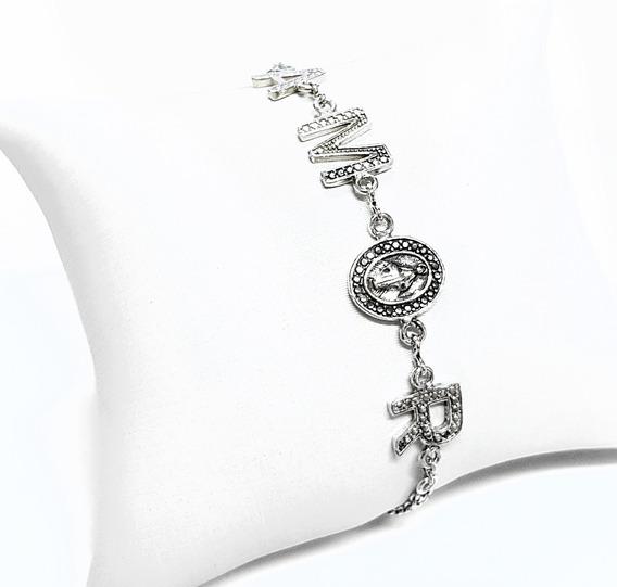 Bracelete Pulseira Feminina Amor Banhada Prata Bali 925