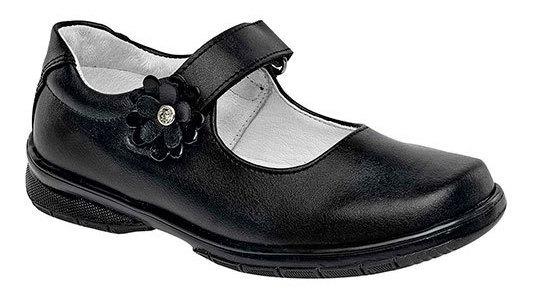 Zapato Escolar Negro Piel Flor Correa Dama 27816 Udt