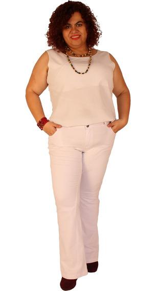 Calça Flare Branca Strech Plus Size Madeleine Do 46 Ao 60