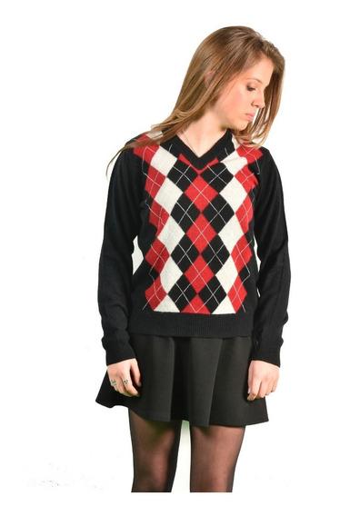 Escote V Rombo Dama,sweaters Del Sur, Molde Entallado.
