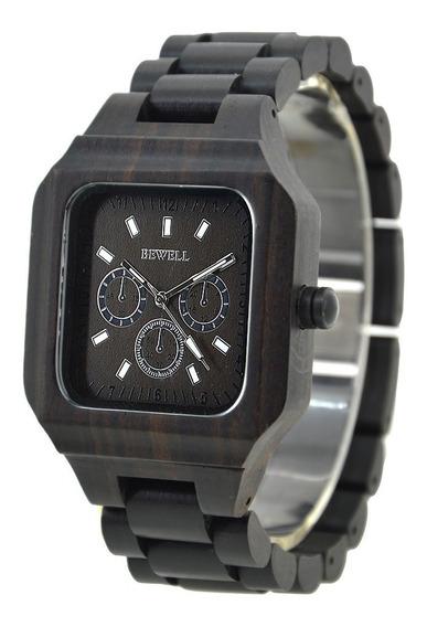 Relógio Madeira Bewell Original Quadrado Preto Masculino