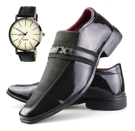 Sapato Social Clássico Masculino Super Leve Relógio Original