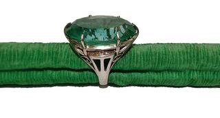 Anel Cristal Verde Prata 950