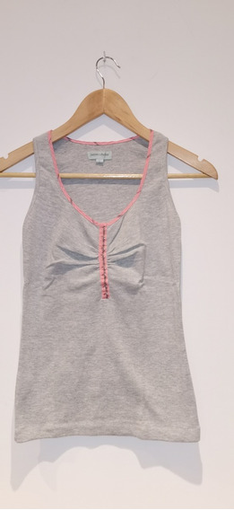 Jazmin Chebar Musculosa Gris Con Rosa T2. Impecable!
