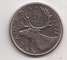 Canada Moneda De 25 Cents Año 1978 !!
