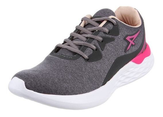 Athix Zapatillas Running Mujer Vibes Flexy Gris - Rosa