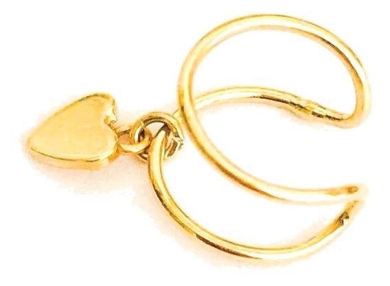Piercing Ouro 18k De Encaixe C/ Coração Cartilagem Orelha