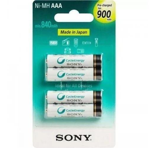 Pilha Sony Recarreg. Aaa C/4 Unid. 900mah Nimh Nh-aaa-b4gn