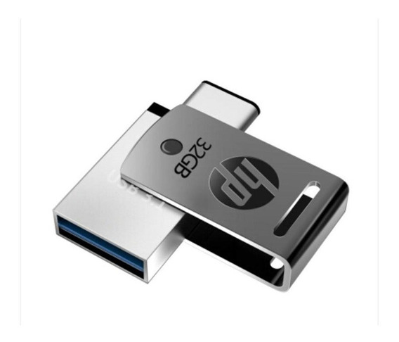 Pen Drive 32gb Usb Tipo C + Usb 3.1 X5000m Metal Hp Original