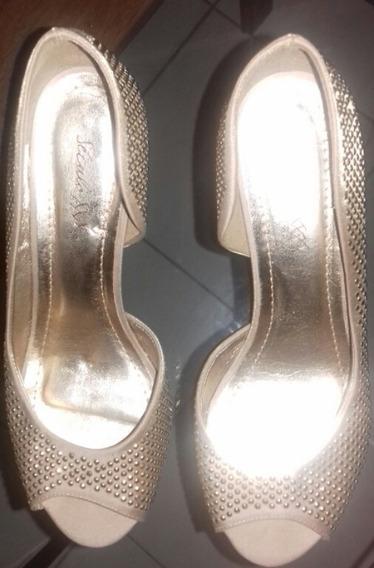 Sapato De Festa Champagne/ Dourado - Século Xxx - 39
