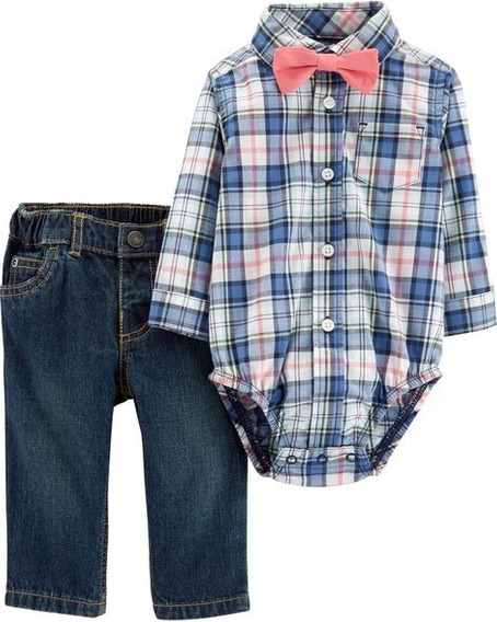 Carters Conjunto Pañalero Moño Jeans Bebe Niño 9m 18 M