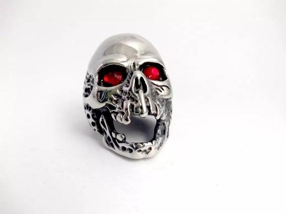 Anel Caveira Olho Motoqueiro Rock Punk Skull Inox Promoção