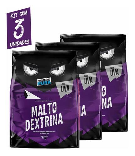 Imagem 1 de 3 de Maltodextrina - 1kg- Sabor Uva - Kit Com 3