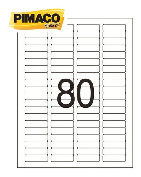 Etiqueta 6187 12x44mm 4col 8000 Etiquetas 100 Fls Pimaco