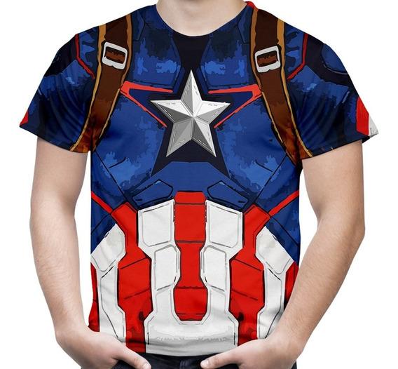 Camiseta Capitão America Vingadores Estampa Total Mascul. 2