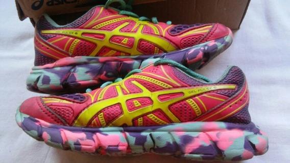 Tênis Infantil Asics Gel Pulse 6 Pink Limão Roxo 30 Semi Nov