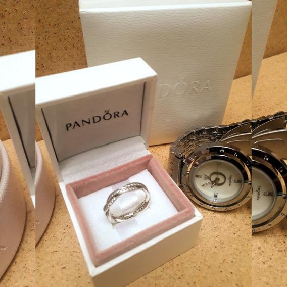 Anel Pandora Brilho Entrelaçado Prata Novo Na Caixa Original