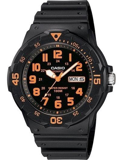 Casio Mrw200h-4bv Reloj Análogo Para Hombre, Negro/naranja