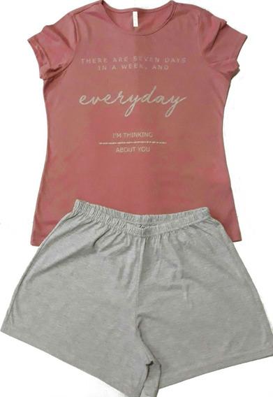 Pijama Feminino Curto Verão Short Doll Listra Camiseta Coral