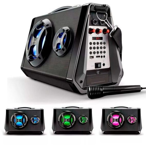 Caixa Som Portátil Active Sound Bluetooth Com Led - Sp217
