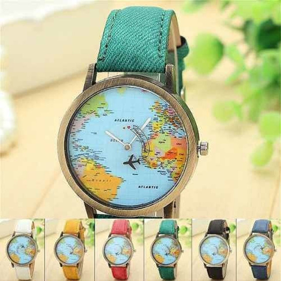 Relógio Mapa Mundi Viajante Avião Vintage Qualidade Mapinha