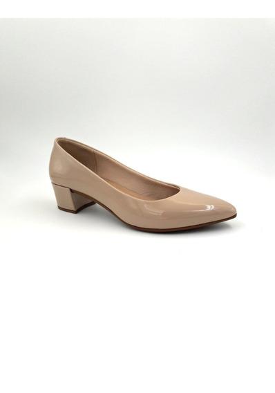 Sapato Scarpin Beira Rio Salto Baixo Bico Fino Bege