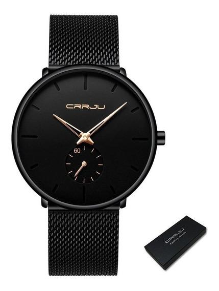 Relógio Unissex Crrju Na Caixa Original Pont. Dourado 2150