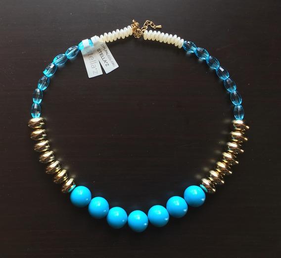 Collar Italiano, Azul Con Dorado Y Perla. Mod. 476