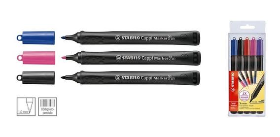 Caneta Marcador Permanente Caixa C/5 Cores Sortidas-stabilo