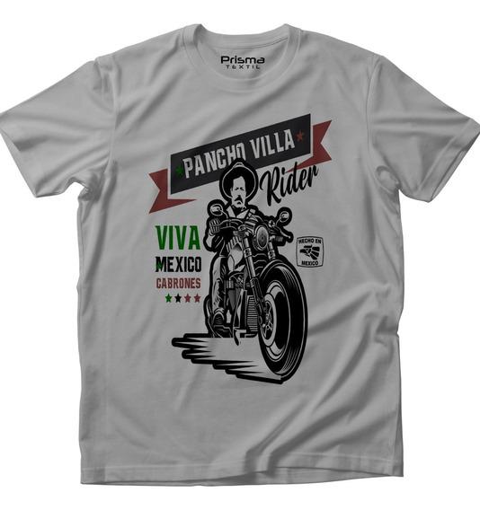 Viva México Cabrones Pancho Villa Rider Playera Mexicana