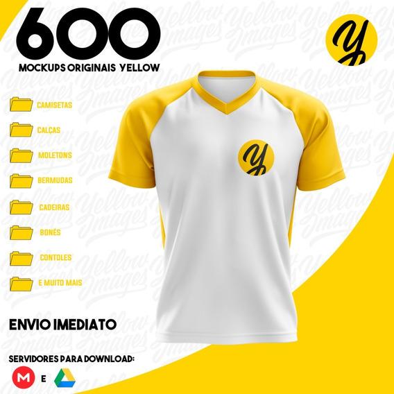 600 Mockups Yellow - Tif/psd E Png(mobile) Roupas Acessório
