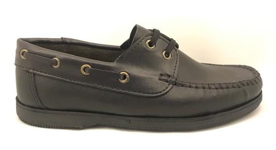 Zapato Colegial Náutico Cuero Unisex Negro Cordones(art1160)