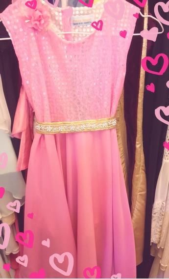 Vestido De Fiesta Para Niña Talle 10 Color Rosa Dior.
