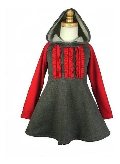 Vestido Nena Invierno Dafne Bombona Gris Manga Larga Abrigo