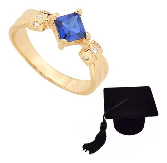 Anel De Formatura Rommanel Azul 512152 Caixa Chapéu Formando