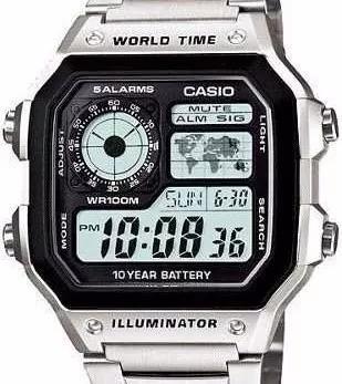 Relogio Casio Prata Ae 1200whd Aço Crono 5alarm Wr100m