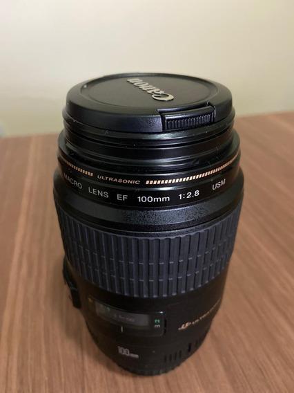 Lente Canon Ef 100mm Macro F/2.8 Usada (conservada)