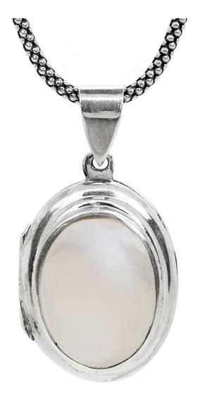 Colar Relicário De Prata Pura 925 Com Madrepérola