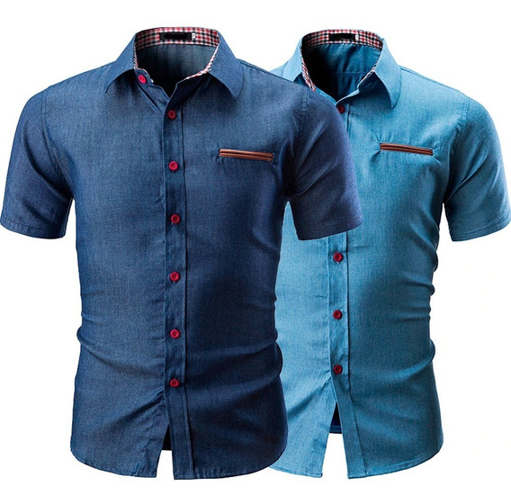 Camisa Estilo Jeans Bolsillo Cuero Manga Corta Hombre