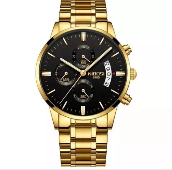 Relógio Masculino De Luxo Nibosi Original Na Caixa