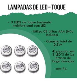 Móveis Kit C/6 Luminária Toque 3 Led Branca Casa Pilha Luz