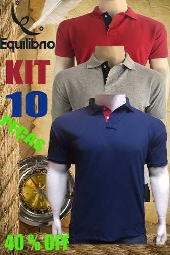 f87fea930a Kit 10 Camisas Gola Polo Basica Masculina Atacado Uniforme - R  189 ...