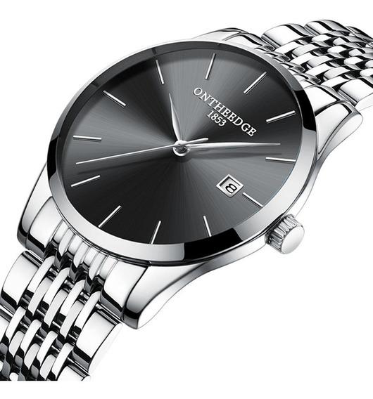Relógio De Quartzo Ultra Fino Com Exibição Calendário Prata