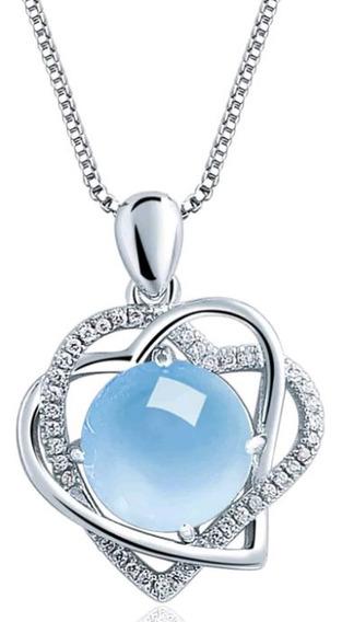 Collar En Forma De Corazón De Plata De Ley 925con Cristal