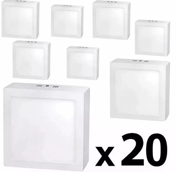 Kit 20 Painel Plafon 18w Led Sobrepor Quadrado Branco Frio