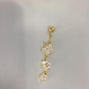 Piercing Umbigo Banho Ouro Pingente 3 Flores Corrente