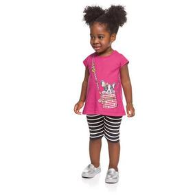 Conjunto Infantil Feminino Brandili Blusa E Bermuda 32827