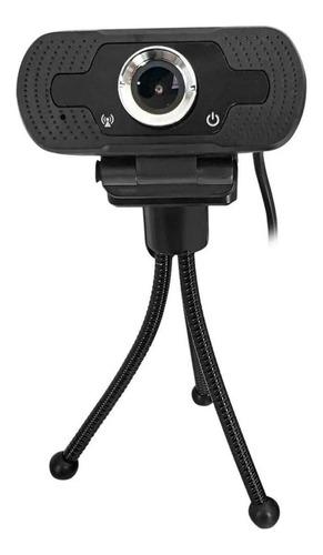 Imagen 1 de 4 de Webcam Camara Web Con Micrófono Y Tripode Usb 1080p