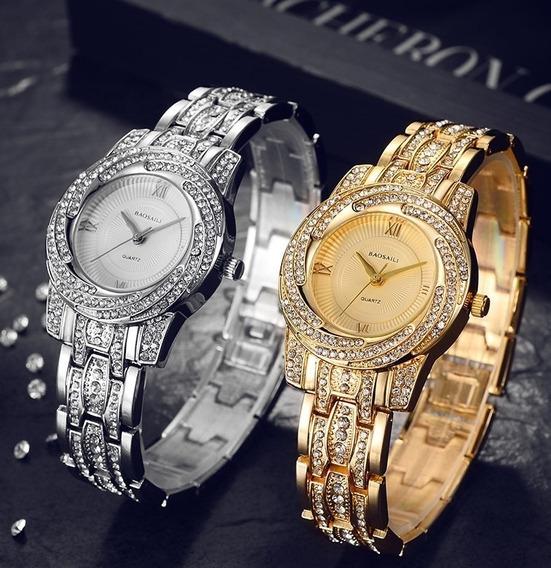 Relógio De Luxo Fino Feminino Strass Baosaili Bsl1030